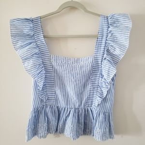 NWT Cropped Ruffled Cap Sleeve Summer Top
